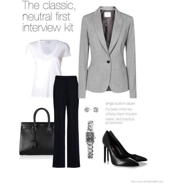 classic, neutral first interview outfit